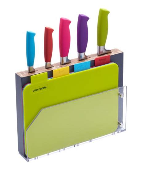 Colourworks 9 piece Knife Block and chopping Board Set