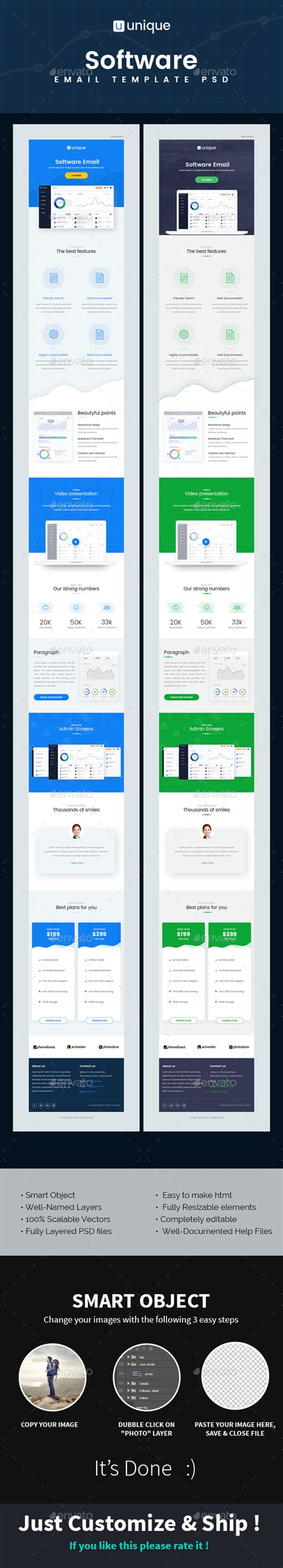 Unique Software Email Template Psd By Kalanidhithemes Graphicriver Unique Email Templates