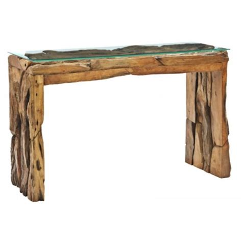 Teak Console Table Teak Root Glass Top Console Table 120cm