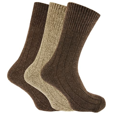 mens non elastic chunky wool boot socks pack of 3 ebay