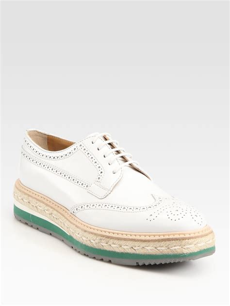 prada oxford shoes lyst prada wingtip platform espadrille oxfords in brown