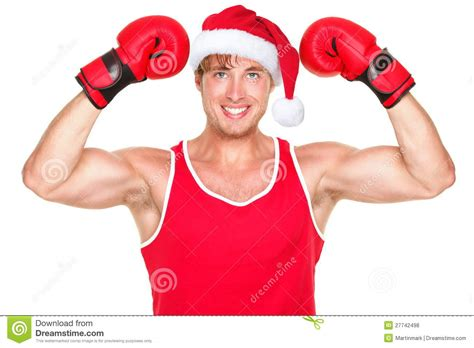 fitness christmas pics fitness boxer wearing santa hat stock photo image 27742498