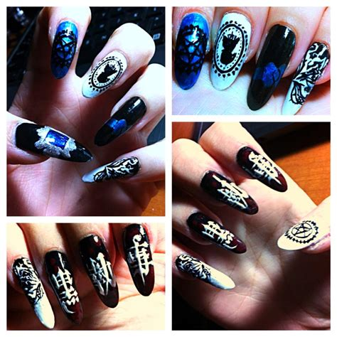 kuroshitsuji themed nails by namidataki on deviantart