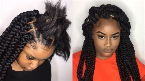 how to bob long hair with a rubber band jumbo box braids tutorial rubber band method youtube
