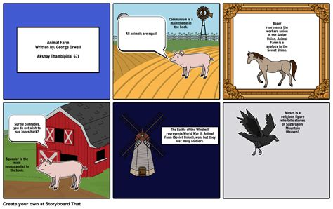 themes and exles in animal farm animal farm themes and symbols storyboard by akshay2003