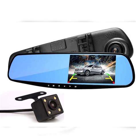 Kamera Mobil Hd 1080p Car Dvr Recorder Dashboard hd 1080p car dvr auto 4 3 inch rearview mirror digital recorder dual lens dash