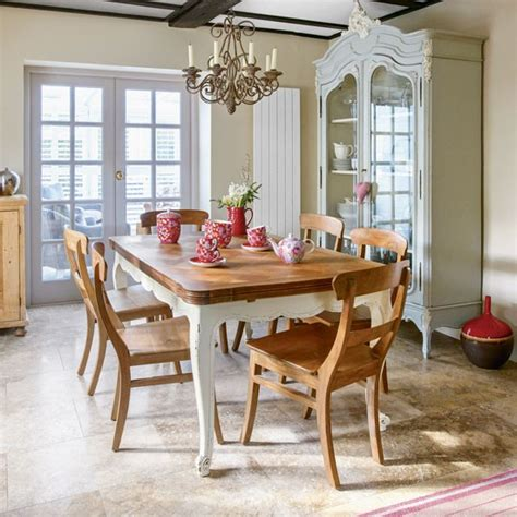 modern country dining room with influence