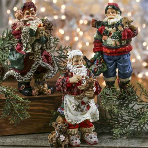 old fashioned resin santa table shelf decorations