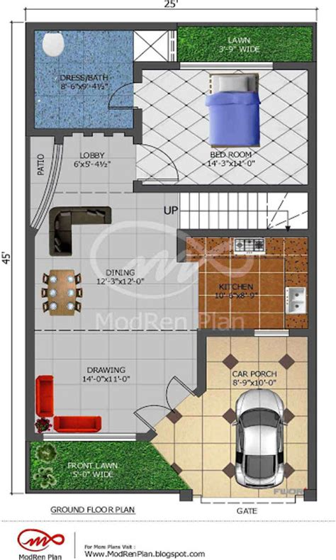 5 sq feet 5 marla house plan 1200 sq ft 25x45 feet www modrenplan