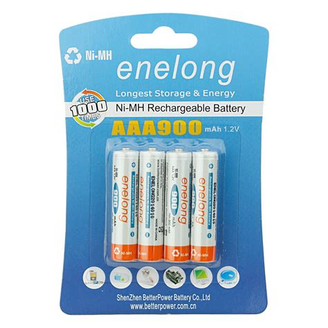 Battery Rechargeable Aaa Ni Mh Batteries 900mah Enelong new 4 pack nimh aaa battery 1 2v 900mah precharged rechargeable batteries ebay