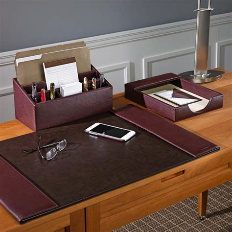 office desk organizers accessories bomber jacket desk set three pieces leather desk