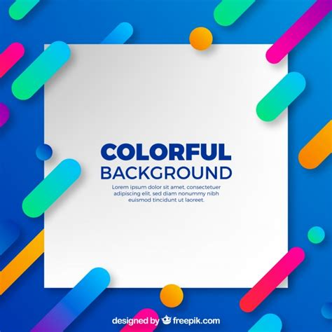 desain poster kekinian blue background with colorful shapes in flat design vector