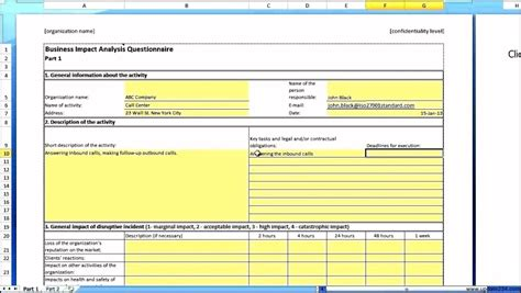 business impact analysis template xls business impact analysis template template update234