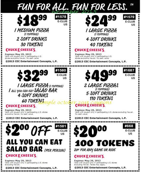 Coupon Calendar Club Free Printable Coupons Chuck E Cheese Coupons