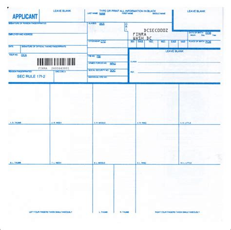 Blank Fingerprint Card Template by Kenneth A Edelstein All Purpose Certified New York Mobile