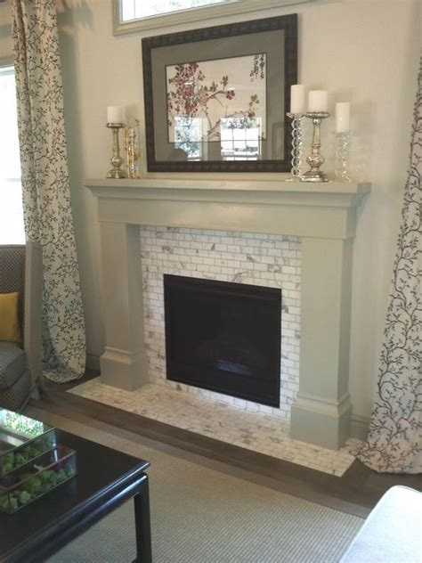 marble subway tile fireplace surround carrara white subway tiles fireplace surround for the
