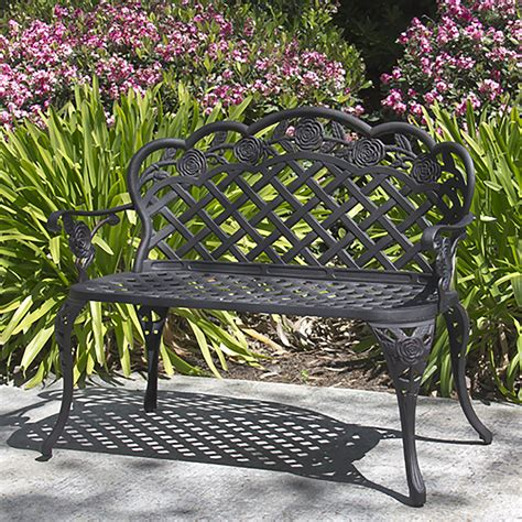 affordable cheap outdoor benches comes with black iron