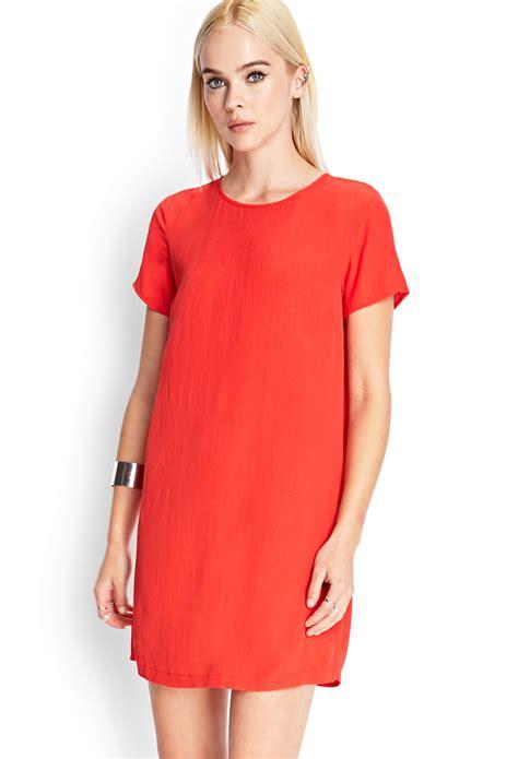 Forever21 Orange Erhnic Dress lyst forever 21 sleeve shift dress in orange