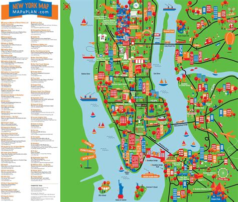 map of nyc with landmarks tourist attractions in new york map