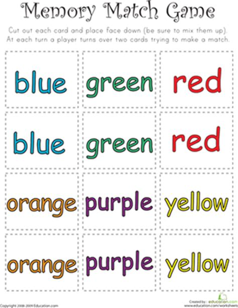 printable word matching games color word memory match worksheet education com