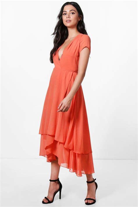 Sleeve Chiffon Midi Dress boohoo womens gracie chiffon cap sleeve ruffle midi dress
