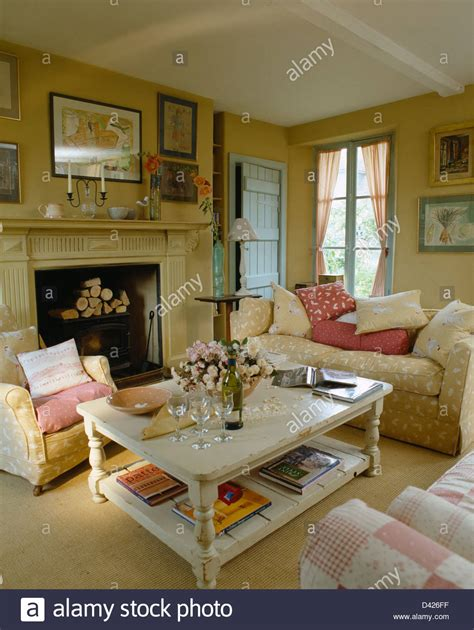living room with coffee table white coffee table in cosy country living room with