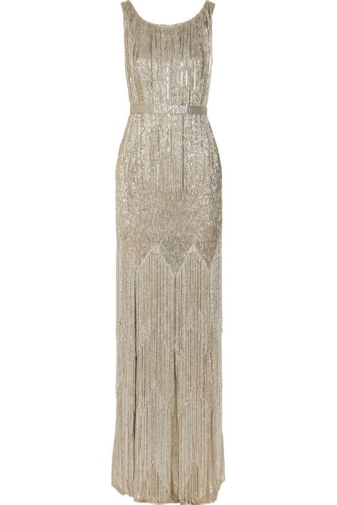 Silver Beaded Gown By Oscar De La Renta Glitter And
