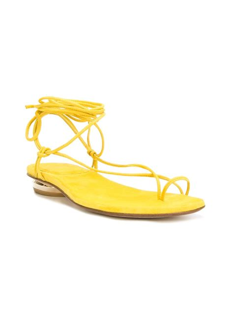 flat yellow sandals stuart weitzman nieta flat sandals in yellow yellow