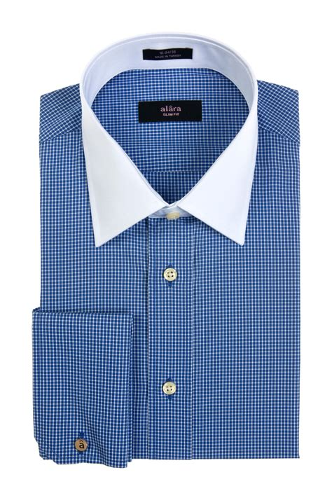 pattern shirt with white collar white collar navy quot mini box quot pattern dress shirt with