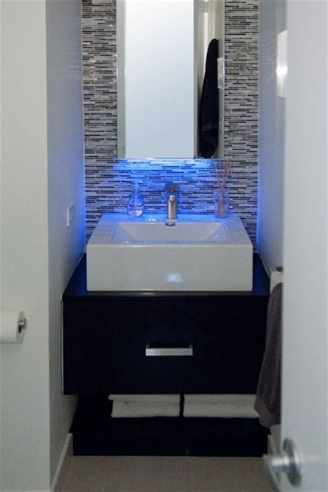Blue LED Strip Light over sink. http://www.led light strip