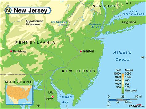 physical map of new jersey new jersey physical map by maps from maps world