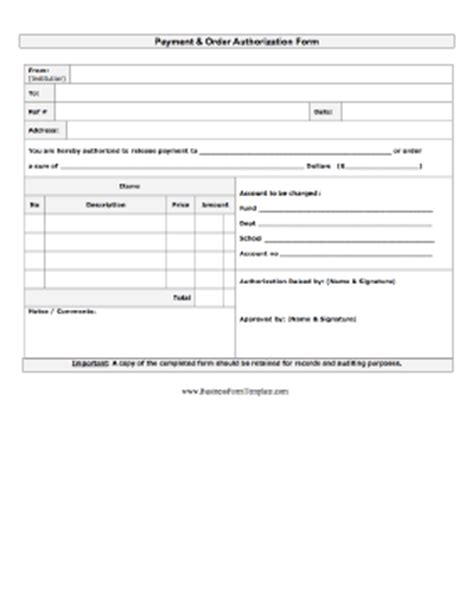 additional work authorization template order authorization form template