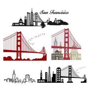 san francisco skyline tattoo san francisco california skyline with golden gate cuttable