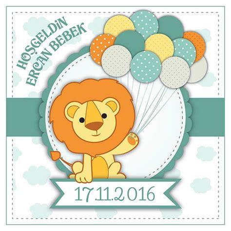 bebek aslan baby shower etiketi stickerimcom