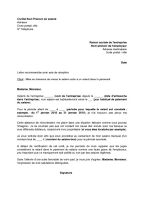 Modèle De Lettre De Mise En Demeure De Faire Des Travaux Lettre De Demission Non Paiement Salaire Application