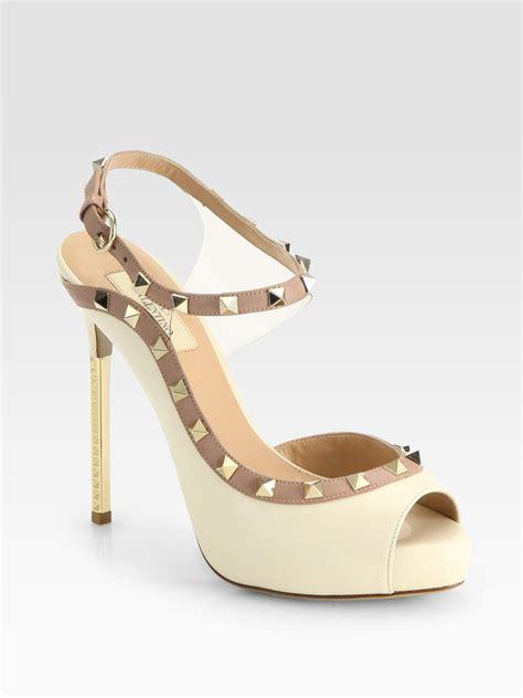 valentino studded sandals valentino studded bicolor leather pvc platform sandals in
