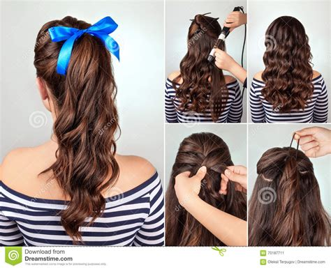 curling hair tutorial for med hair hairstyle pony tail on curly hair tutorial stock image