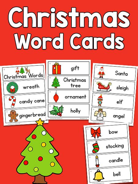 Christmas Gift Card Words - christmas picture word cards prekinders