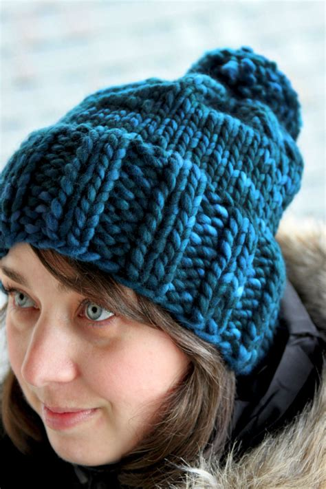 hat pattern chunky yarn hannah hat knitting pattern chunky ribbed bulky pom pom