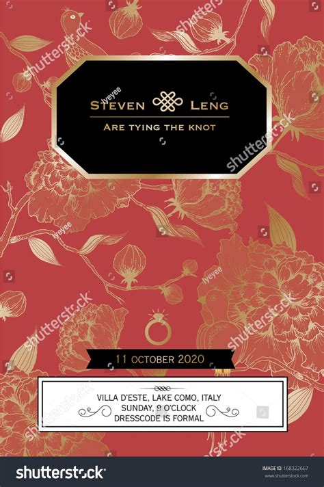 asian wedding card template floral wedding card template vectorillustration
