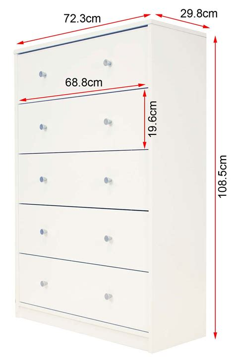 Drawer Dimensions by Billi June 5 Drawer White Wooden Chest Of