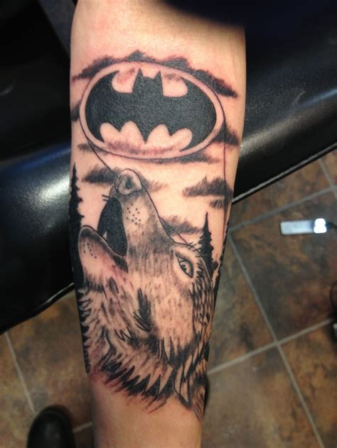 black and grey wolf tattoo black and grey wolf howling at batman custom