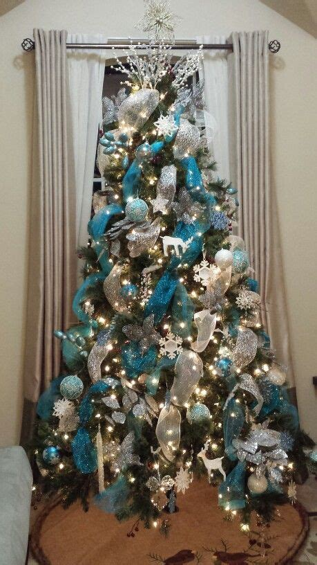 blue and silver decorated christmas trees silver and blue tree decorations tree