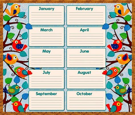 free birthday calendar template printable calendar 2017