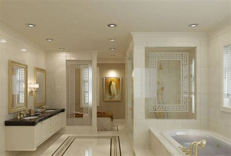upscale master bedroom with bathroom interior design