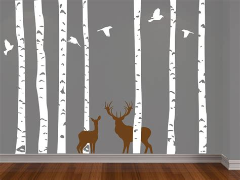 birch tree with bird and deer wall decals birch forest deer and birds vinyl wall decal free shipping on luulla