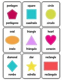 figuras geometricas frances tarjetas recortables espa 241 ol ingl 233 s spanish vocabulary for