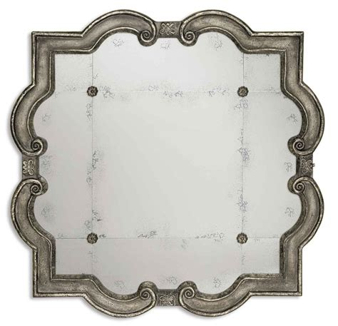 Distressed Farmhouse Floor Mirror For Sale - prisca distressed silver with black unique framed mirror