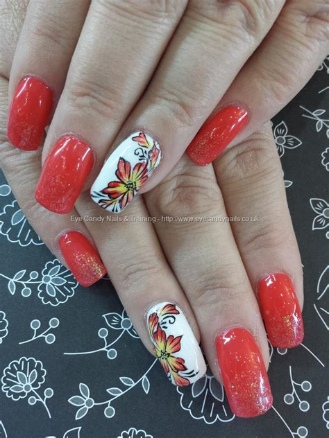 gel flower eye nails coral gel with one