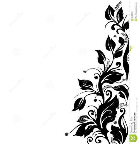 wallpaper border black and white flowers black and white floral border stock illustration image